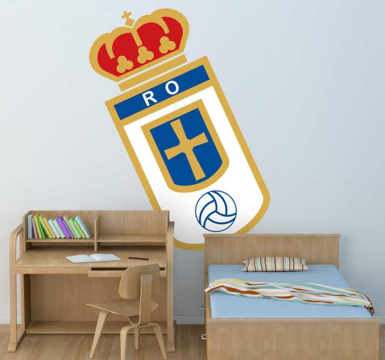 TenVinilo. Vinilo decorativo Real Oviedo color. Escudo Adhesivo del Real Oviedo, club de fútbol del Principado de Asturias. Singular vinilo para los amantes del deporte.
