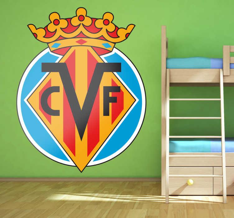 TenVinilo. Vinilo decorativo Villareal. Escudo Adhesivo del Villarreal, club de futbol de la Liga española. Magnífico vinilo para los amantes del deporte.