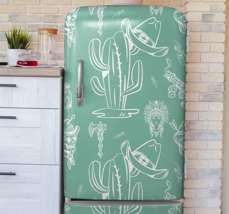 TENSTICKERS. サボテンと帽子西洋パターン冷蔵庫ラップ. 高品質のビニールで作られた素晴らしいカウボーイパターンの冷蔵庫用ステッカーで冷蔵庫のスペースを変えてください。適用は簡単で、どのサイズでも利用できます。