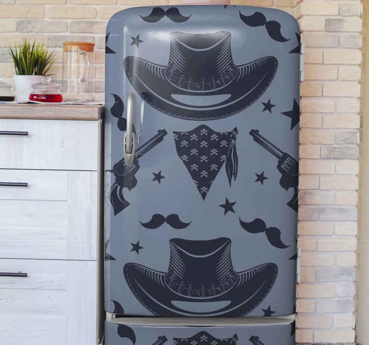 TENSTICKERS. カウボーイハット、群れ、リボルバーの冷蔵庫のラップ. さまざまなカウボーイのアイデンティティデザインが特徴の美しい象徴的な冷蔵庫用ステッカー。製品は高品質のビニールで作られています。