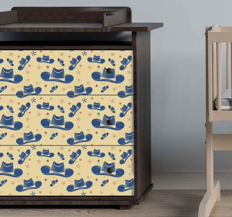 TenVinilo. Vinilo mueble sombreros cowboy. Decora tus muebles con este papel adhesivo para muebles de sombreros de vaquero. Elige las medidas ¡Envío a domicilio!