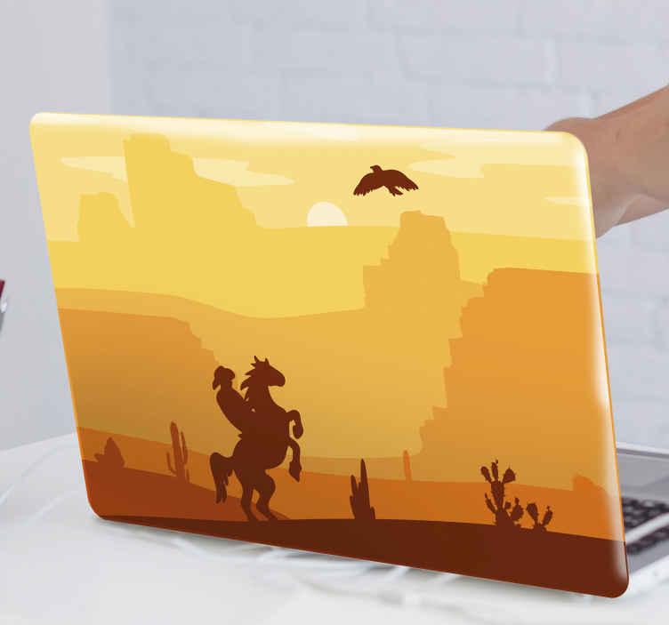 TenVinilo. Skin touchpad paisaje cowboy con vaquero. Hermoso skin touchpad con paisaje del oeste con vaquero montando a caballo en medio del desierto ¡Envío a domicilio!