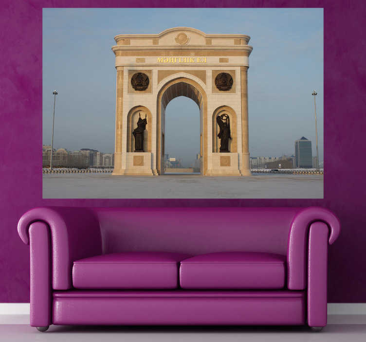 TenStickers. Sticker decorativo Arco di Trionfo Astana. Fotomurale che ritrae l'arco di trionfo della capitale del Kazakistan. Una decorazione monumentale per le pareti del soggiorno o della camera da letto.