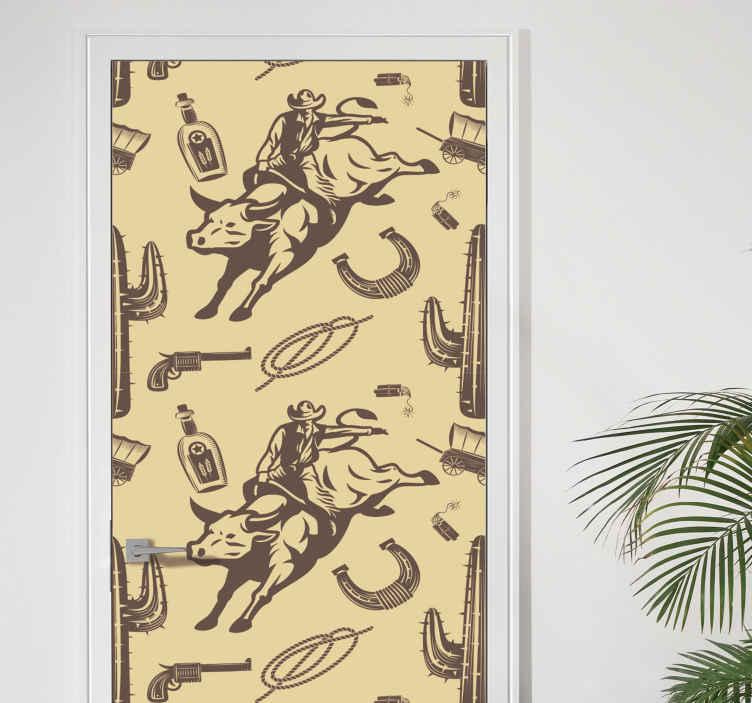 TenVinilo. Vinilo puerta cowboy montado en toro. Vinilo puerta con el diseño destacado de elementos que representan la identidad y el estilo de vida de un vaquero ¡Envío a domicilio!