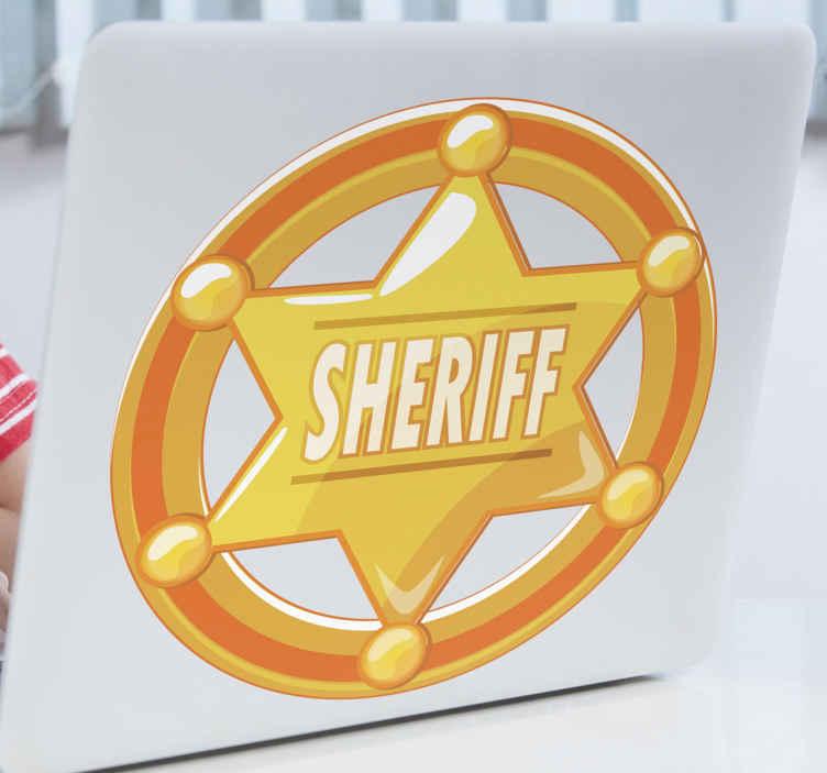 TenVinilo. Pegatina portátiles estrella vaquero con nombre. Hermosa pegatina portátiles de estrella para con el nombre '' sheriff '' sobre un fondo en círculo. Fácil de aplicar ¡Envío a domicilio!