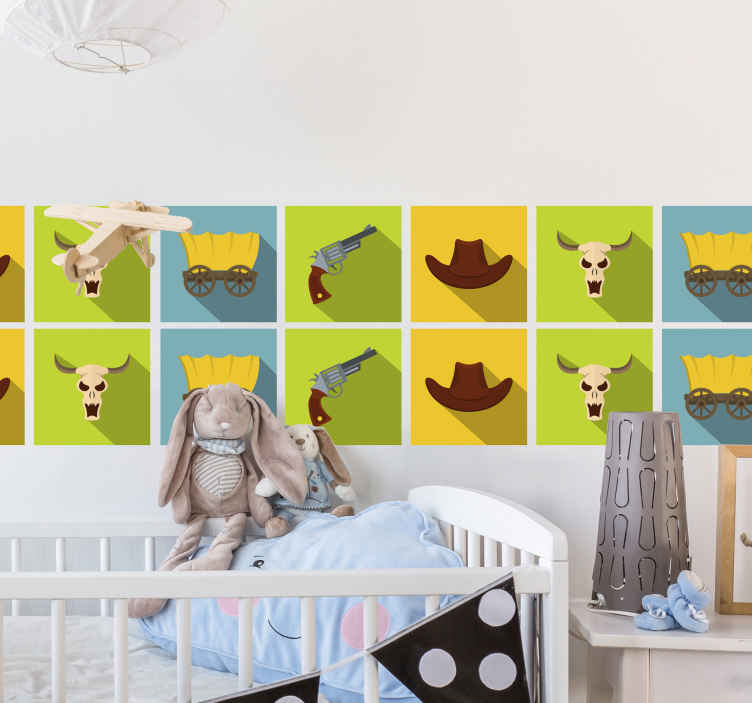 TenVinilo. Azulejos vinílicos estilo azulejos vaquero. Un increíble azulejo vinilico para decorar de forma original el cuarto de tus hijos con elementos de vaqueros ¡Envío a domicilio!
