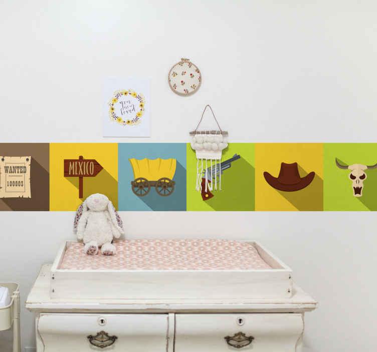 TenVinilo. Cenefa decorativa patrón azulejos de vaquero. Cenefa infantil para pared de azulejos presentada con varios elementos del vaquero fácil de aplicar. Tamaño personalizable ¡Envío a domicilio!