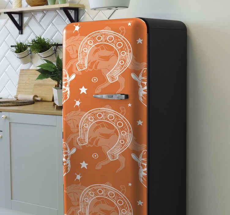 TENSTICKERS. ホースシュー冷蔵庫ラップ. 馬の靴のデザインで作られたカウボーイをテーマにした冷蔵庫のステッカーで冷蔵庫のドアのスペースを覆います。それは高品質の素材で作られています。