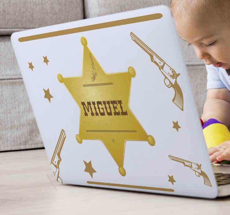 TenVinilo. Pegatina portátiles insignia sheriff con nombre. Vinil para laptop o portátil con pistolas y estrellas vaqueras del sheriff en el que podrás personalizar tu nombre ¡Envío a domicilio!