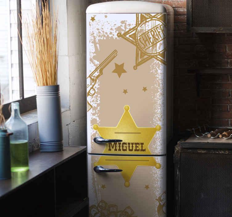 TENSTICKERS. 保安官バッジ、名前入り冷蔵庫ラップデカール. 私たちの象徴的なカスタマイズ可能な名前の保安官バッジ冷蔵庫デカールであなたの冷蔵庫スペースに保安官の命令をもたらします。どのサイズでもご利用いただけます。