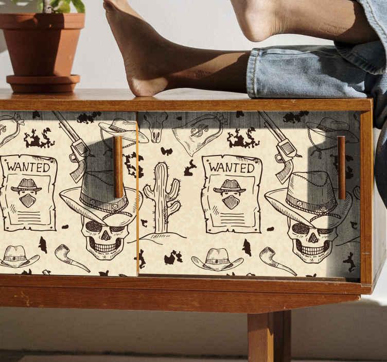 TENSTICKERS. 西部のアイコン家具デカール. カウボーイを識別するさまざまな要素でデザインされた、驚くべき象徴的な家具ステッカー。高品質のビニールで作られた製品。