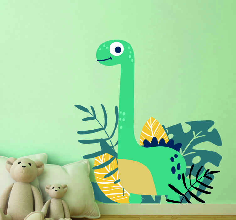 TenStickers. Cute dinosaur in the Jurassic park wall decal. Cute animal wall sticker design of a dinosaur for children bedroom decoration. The product is original, self adhesive and highly durable.