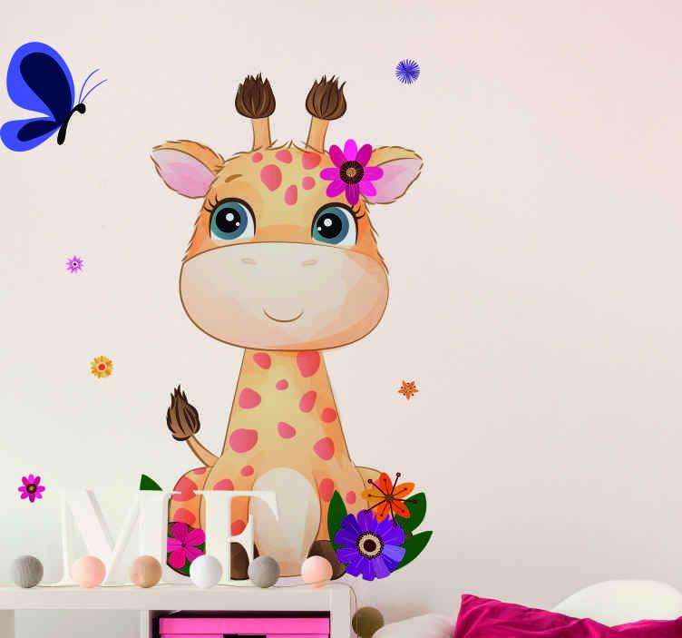 TENSTICKERS. キリンの子供のための野生のアフリカの動物の壁のステッカー. 可愛い色とりどりの花でかわいいキリンのアニマルステッカー。製品は高品質のビニールで作られています。