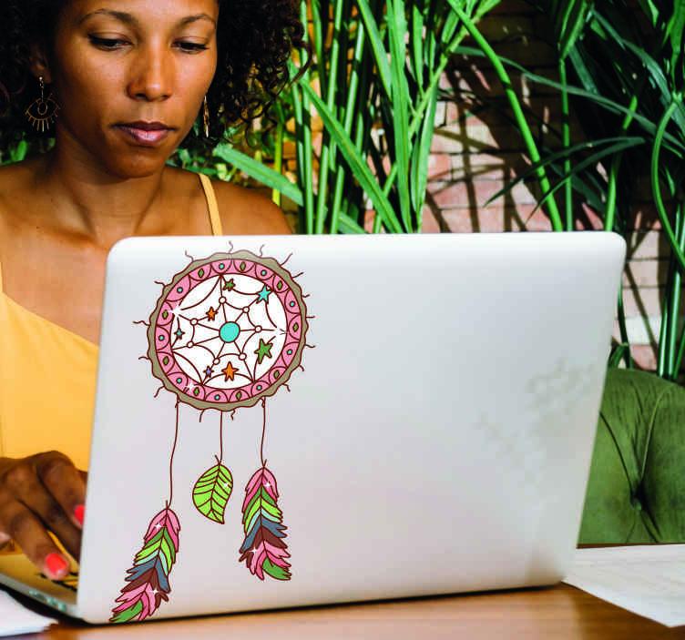 TenStickers. Stickers voor laptop Mandala dromenvanger. Een eenvoudig, kleurrijk, decoratief dromenvanger laptop sticker om uw laptop te versieren om op te vallen op een speciale manier. Het is gemakkelijk aan te brengen.