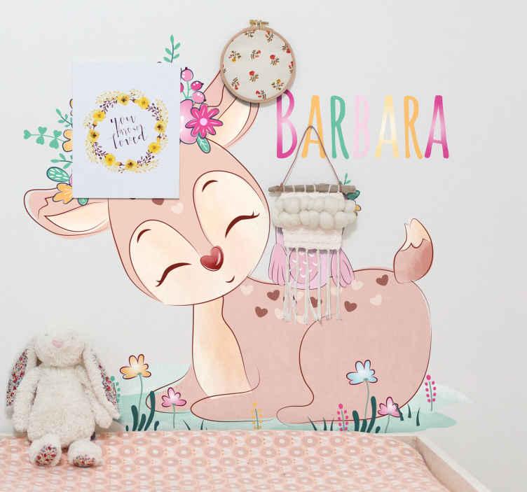 TENSTICKERS. テナンゴ鹿と鳥の名前の野生動物デカール. あなたの子供の寝室を飾るスタイリストと美しい方法をお探しですか?私たちの鹿の動物壁アートデカールは完璧です。