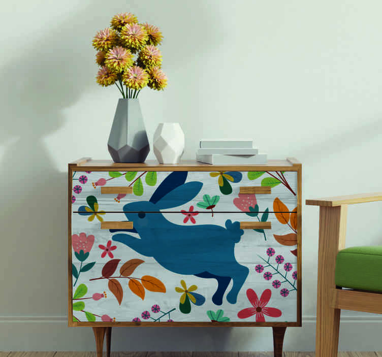 TENSTICKERS. テナンゴウサギと花の家具のデカール. 家具用の美しい装飾的なテナンゴの花とウサギのデザイン。製品は高品質で、適用が簡単です。