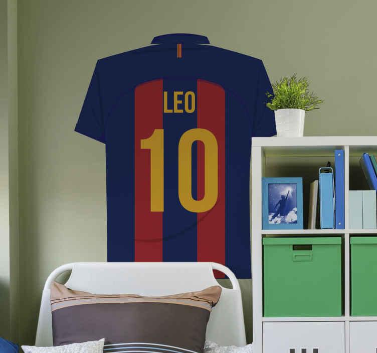 TENSTICKERS. メッシサッカーステッカー. バルセロナチームプレーヤーの名前のサッカーシャツの壁のステッカーのデザインをカスタマイズします。このクラブのファンである10代と若い1人のためのデザイン。