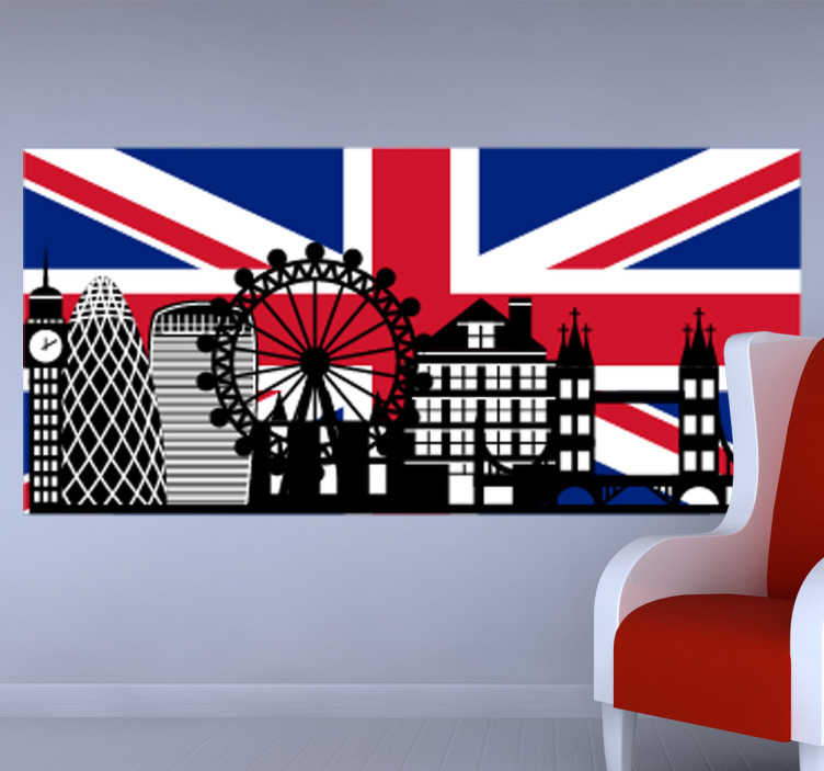 Vinilo decorativo Big Ben con bandera