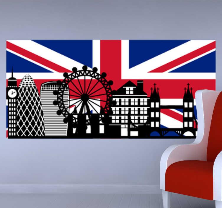 TenStickers. Sticker Big Ben London. De Big Ben in zwart wit perspectief en de vlag van Groot-Brittannië gekleurd. Ideaal ter decoratie van uw wanden.