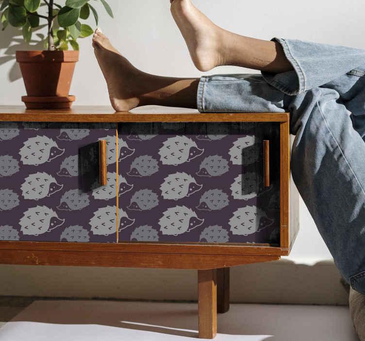 TenVinilo. Vinilo mueble patrón puercoespín. Fantástico papel adhesivo para muebles con patrón de puercoespines en tonos lila. Apto para cualquier superficie plana ¡Envío a domicilio!