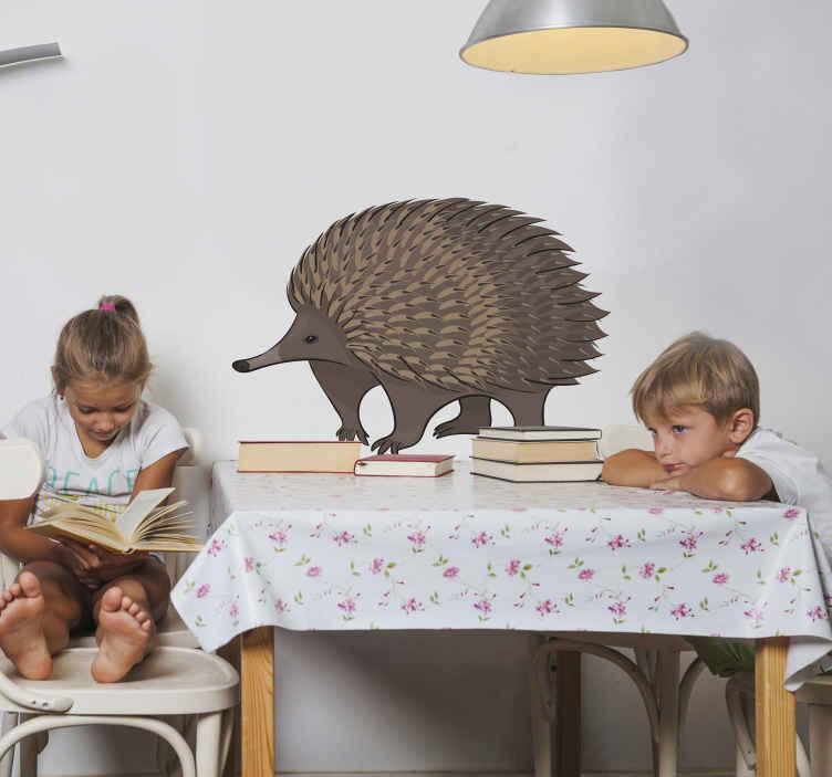 TenVinilo. Vinilo de animales puercoespín caminando. Diseño de vinilo animales infantiles con puercoespín para decorar el cuarto de tu hijo o cualquier estancia del hogar ¡Envío a domicilio!
