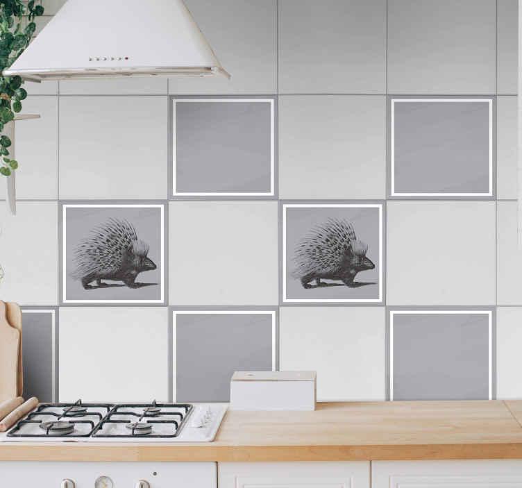 TENSTICKERS. 黒と白のヤマアラシアートタイル転送. バスルーム、キッチン、その他の黒と白のヤマアラシタイルステッカーデザイン。適用が簡単で、品質が優れています。