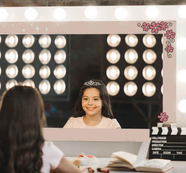 TenStickers. Espelhos decorativos autocolantes Porco-espinho e margarida. produtode autocolante decorativo espelho feito com estampas de margarida e porco-espinho. é fácil de aplicar e é de vinil de alta qualidade. Disponível em qualquer tamanho necessário.
