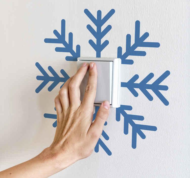TenStickers. Vinil  para interruptor Flocos de neve de natal. Flocos de neve de natal luz interruptor vinil autocolante decorativo design. é personalizável em cerca de 50 opções de cores diferentes. Fácil de aplicar e de ótima qualidade.