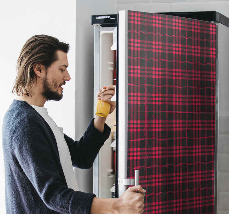 TENSTICKERS. クリスマスタータンパターン冷蔵庫ラップ. アプライアンススペース用のこのタータン冷蔵庫冷蔵庫ステッカーをお見逃しなく。それは素敵で、どんな冷蔵庫スペースにも素敵な装飾的な印象を与えます。