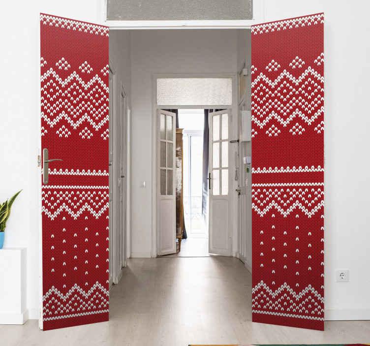 TENSTICKERS. クリスマス典型的な赤いパターンガラスドアステッカー. クリスマスの装飾としてドアのスペースをカバーする魅力的なクリスマスツリーの赤いパターンドアステッカーデザイン。適用が簡単で質が高い。