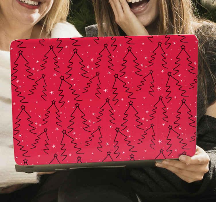 TenStickers. Stickers voor laptop Kerstboom lijnpatroon. Kerstboom lijn patroon laptop sticker. Het ontwerp is gemaakt met een rode achtergrond met prints van siergetekende likes die kerstboom vormen.