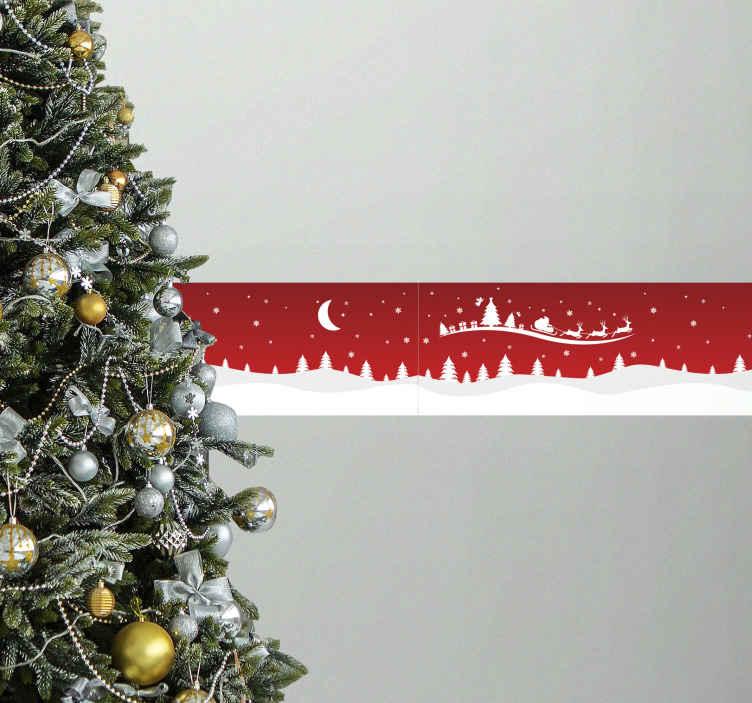 TENSTICKERS. クリスマス波クリスマス壁デカール. オリジナルの装飾的なクリスマスボーダーウォールステッカーデザインで、季節に合わせてクリスマスの気分を味わってください。