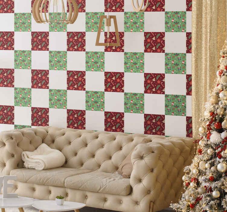 TENSTICKERS. クリスマスキャンディパターンタイル転送デカール. クリスマスデコレーション用のタイルステッカーをお探しですか?素敵な方法であなたのスペースを美化する私たちの素晴らしいクリスマスキャンディパターンタイルデカールはここにあります。