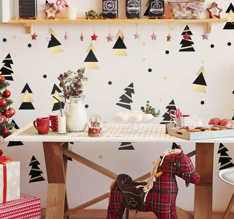 Albero Di Natale Elegante Foglio Adesivo Natalizio Tenstickers