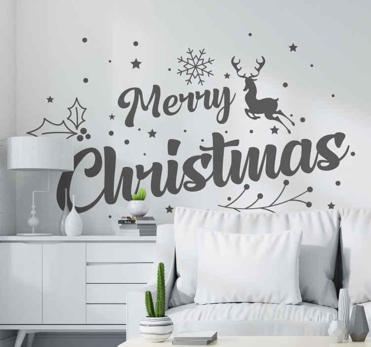 TENSTICKERS. メリークリスマスコンポジションクリスマスウォールステッカー. メリークリスマス組成クリスマスステッカーデザイン。デザインは装飾用の雪片、トナカイ、メリークリスマスのテキストで印刷されます。