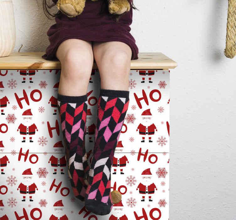 TENSTICKERS. サンタクロースとホホホ柄のクリスマスステッカー. クリスマスデザインの装飾的なお祝い家具ステッカー。サンタクロース、雪片、「ほほほほほほほほ」のイメージでデザインが特徴です。