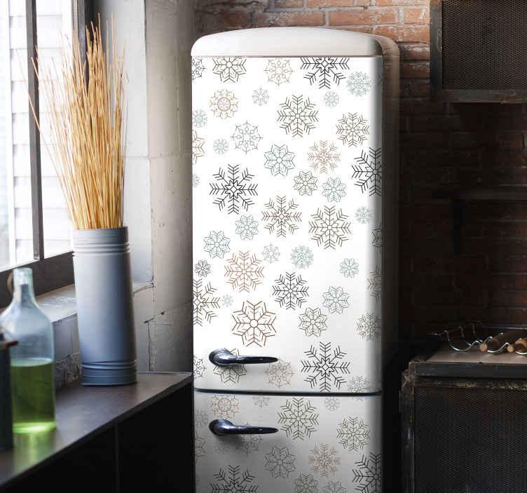 TENSTICKERS. 雪片パターン冷蔵庫ラップデカール. 家のアプライアンスの表面の装飾的なスノーフレーククリスマスデカール。それは冷蔵庫や他の電化製品に装飾的です。
