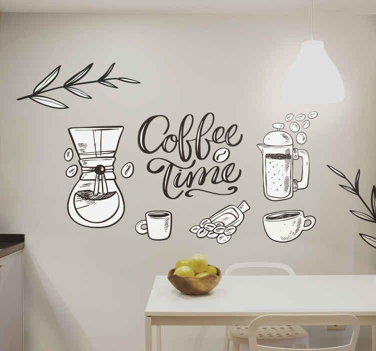 TENSTICKERS. コーヒーの植物とテーマドリンクウォールステッカー. 変化のためのあなたのスペースの装飾的なコーヒー飲料の署名。コーヒーカップやその他の要素が特徴のドリンクウォールステッカー。