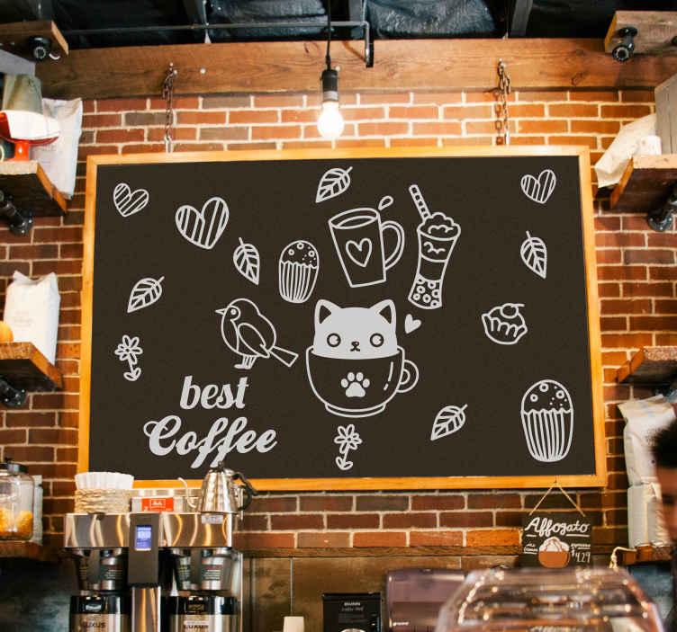 TENSTICKERS. 鳥と猫のコーヒーテーマフード壁デカール. 装飾的なコーヒードリンクウォールステッカーデザイン。このデザインは、商業バーやレストランのスペースにおすすめです。塗布が簡単で、自己接着性があります。
