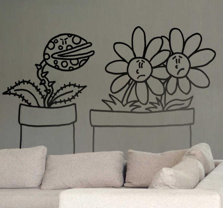 TenStickers. Sticker decorativo carnivora e margherite. Adesivo murale che raffigura una pianta carnivora che sembra avere cattive intenzioni nei confronti di due indifese margherite. Un disegno originale di Deia.