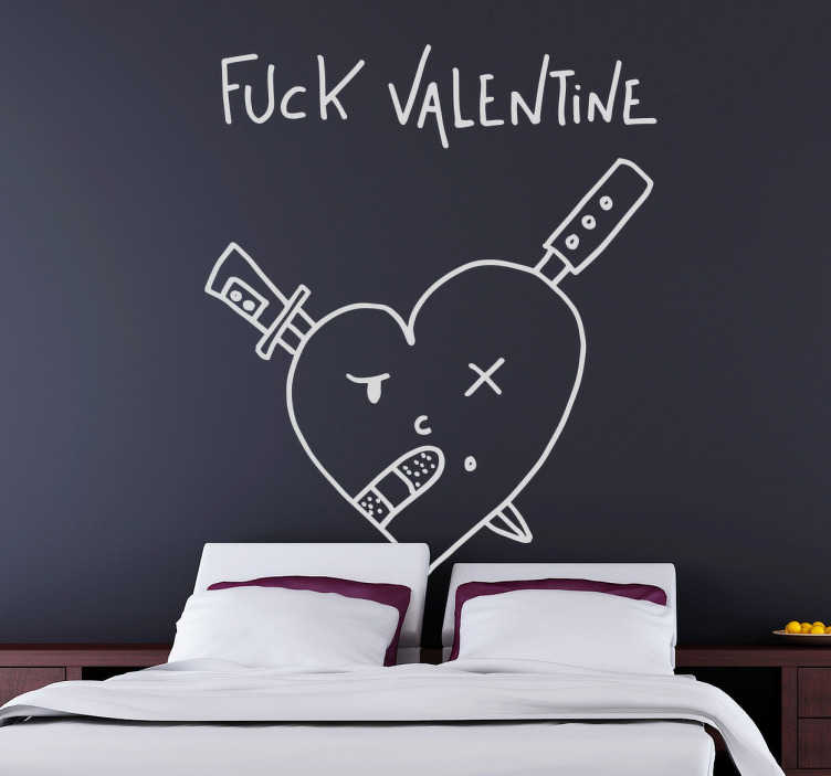 TenStickers. 他妈的情人节贴纸. Deia的原始插图以暗示和有趣的方式批评了情人节。