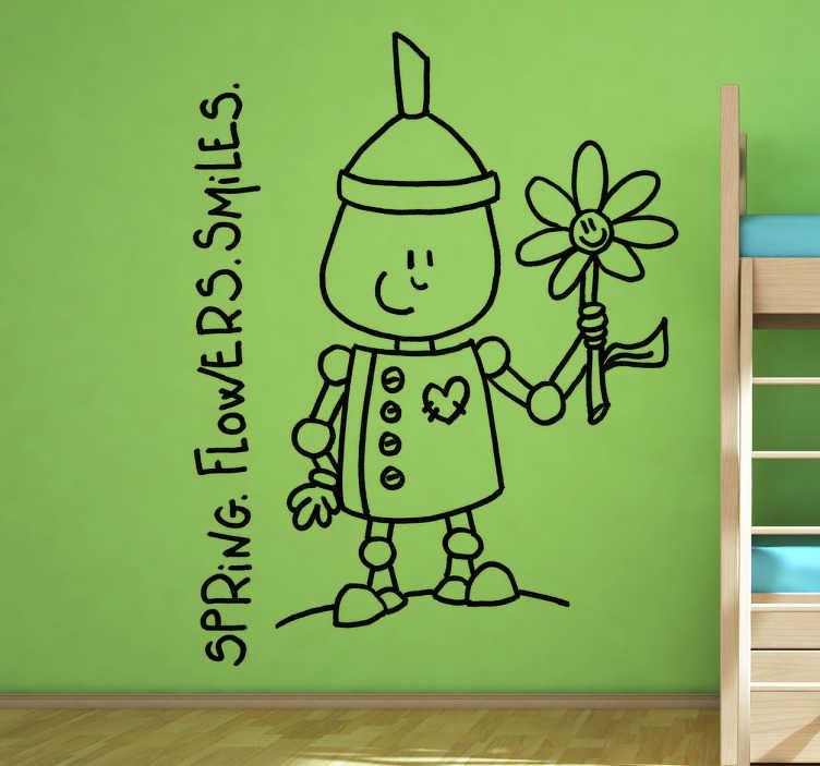 TenStickers. Sticker decorativo spring flowers. Adesivo murale che raffigura un simpatico uomo di latta accompagnato dalle scritte: Primavera. Fiori. Sorrisi. Un'ondata di positività per decorare la camera da letto.