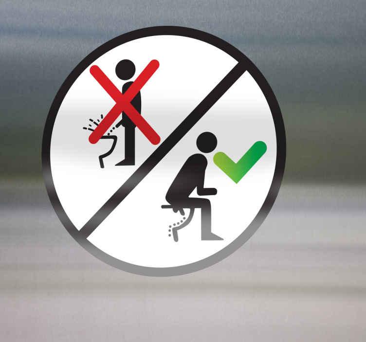 TenStickers. Sticker zittend urineren. Zorg ervoor dat de WC nooit meer een zooitje is met deze WC sticker. De sticker spoort aan tot zittend plassen voor mannen. Erg geschikt voor in huis of bij openbare ruimtes.