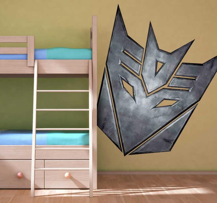 TenVinilo. Vinilo logo Decepticons metal. Vinilo del logotipo del malvado clan de Megatron, los transformers que se baten en eterna lucha con los Autobots de Optimus Prime.