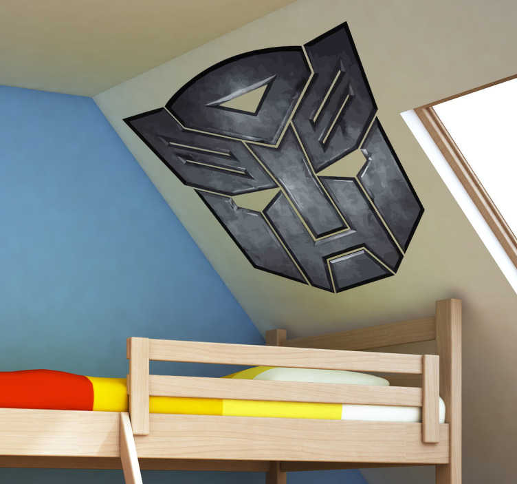 TenVinilo. Vinilo logo Transformers metal. Los Autobots llevan luchando siglos contra sus contrarios los Decepticons. Si defiendes la causa de Optimus Prime contra Megatron ¡hazte con este vinilo!