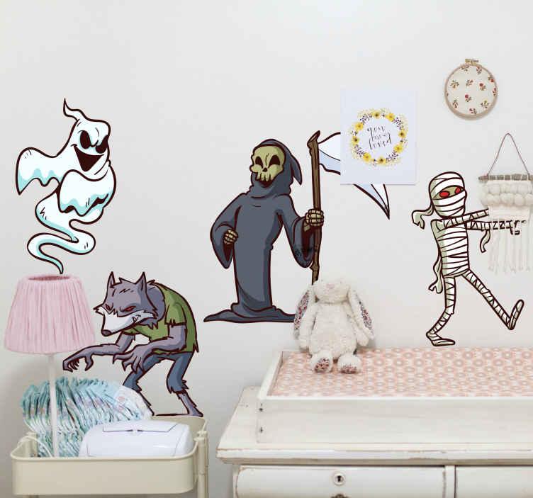 TenStickers. Autocolantes decorativos de halloween Personagens. produtode autocolante de halloween de personagem monstruoso diferente. O design é caracterizado por vários personagens assustadores e é decorativo em qualquer superfície plana.