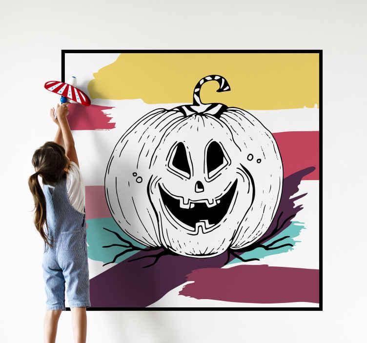 TENSTICKERS. ホワイトボード壁画絵画ハロウィンウォールステッカー. ホワイトボードの壁画のハロウィーンのステッカー。デザインには、抽象的な色とりどりの背景の絵に恐ろしいカボチャの大きな芸術作品があります。
