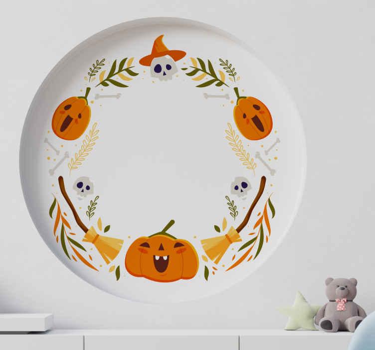 TENSTICKERS. オレンジ色のカボチャフレームハロウィンウォールステッカー. オレンジ色のカボチャフレームハロウィンステッカー。家の装飾のための美しい装飾用ハロウィーンのデカール。適用しやすく、高品質で作られています。
