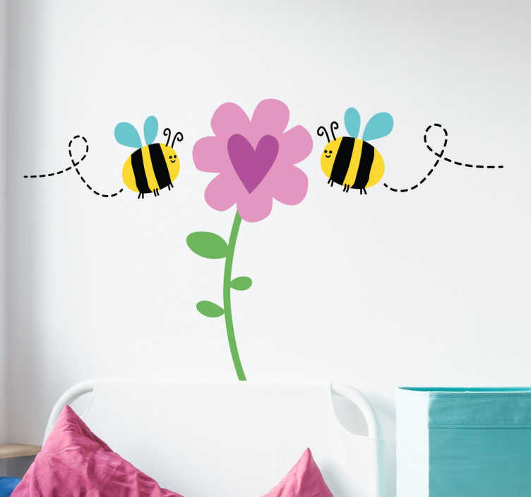 TenStickers. Bee & Flower Wall Mural. Cute Wall art sticker of bees pollinating a plant with a love heart. The insect sticker creates a nice atmosphere wherever it is place.