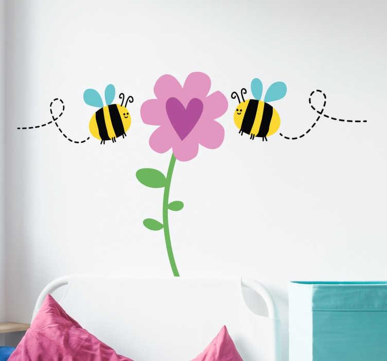 TenStickers. Autocolante infantil abelhas em flores. Autocolante infantil desenhado com abelhas a pousarem em flores.  Este sticker decorativo é apropriado para a decoração do quarto.